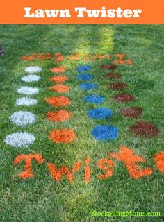 Spray paint big dots on the ground for backyard Twister! Another fun game for the kids at an outside birthday party. :)