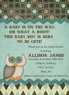 Blue Owl Theme Baby Shower Invitation