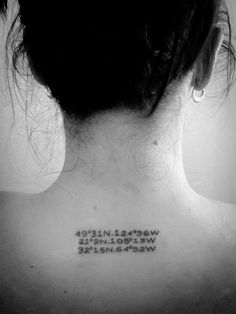 first tattoo...coordinates of 3 very meaningful places.  :-)