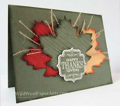 handmade Thanksgiving card ... die cut maple leaves ... pulled strings from burlap ... sentiment label .. subtle Fall colors ... Stampin' Up!