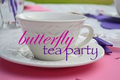 Butterfly themed tea party with a simple DIY piñata, favors, centerpiece, & placemats!!
