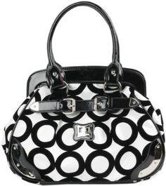 Black and White Chic Mod Circle Bowler Satchel Hobo Handbag  $22.50