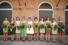 mismatched bridesmaids @mandies_wedding  Also, I love nearly all of those green dresses.