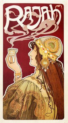 """Vintage Art Nouveau """"Rajah Coffee"""" poster, by Privat Livemont"""