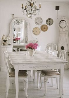 dining rooms, dining room tables, shabbi chic, decorating ideas, clock faces
