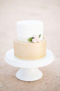 Metallic and neutral wedding cake