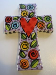 Hand Painted Ceramic Cross by shannondesigns on Etsy, $24.00