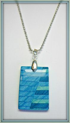 Turquiose Mica Shift Statement Chain Necklace, polymer clay jewelry. $16.00, via Etsy.