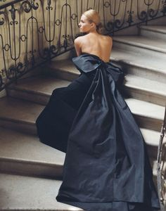 Ralph Lauren navy blue gown with over-sized bow at back