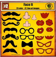 I Mustache you a question. Do you need some Face Features such as mustaches, noses, glasses, or lips, if so check out this high quality, low priced clip art set from Charlotte's Clips