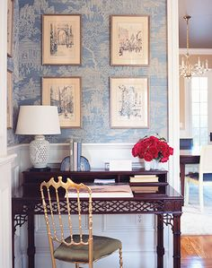 sometimes, an office is just a little nook! blue toile wallpaper, white Chinoiserie lamp, gold chair, mahogany desk // workspaces