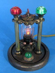 Steampunk Nightlight Tesla Night Light Professor Conrow Victorian Edison Lamp Steam Punk Home Decor