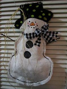 Full Body Snowman Christmas Burlap Door Hanger by nursejeanneg, $28.00
