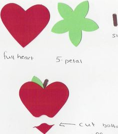 punch art apple out of the heart punch.  All so use the piece at the bottom as a mouth