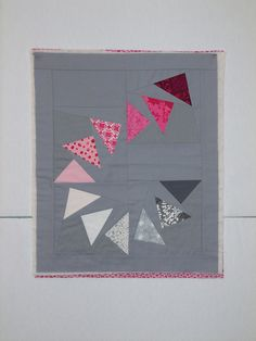 super cool flying geese quilt gray pink red