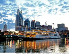 Nashville skyline with Gaylord Opryland's General Jackson Showboat in the foreground. Beautiful.