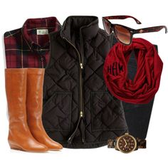 Jcrew vest! I need it in navy and that flannel is amazing. Only thing that would make this outfit Better is the Tory birch boots