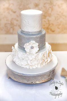 sparkle, glitter, rose petal cake. Silver cake, white cake, flowers,
