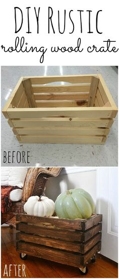 DIY Rolling Crate - So easy to make & all of the items were found at walmart!