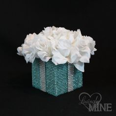 Centerpiece - Tiffany Co. Inspired BLING Box with White Silk Roses - Tiffany Blue and White - Small Size