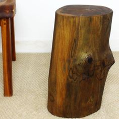"""#EndTable #TeakWood  Stump 11"""" round available in two sizes 18""""  or 22"""" tall. Walnut Oil finish"""