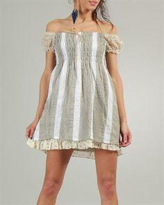 Ian Mosh Color-Blocked Shirred Dress