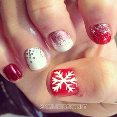 christmas nails, nail idea, snowflak, christma nail