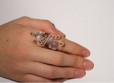 Wire Wrapped Ring-copper ring-adjustable wire wrapped copper ring -wire wrapped jewelry handmade-copper jewelry. $16.00, via Etsy.