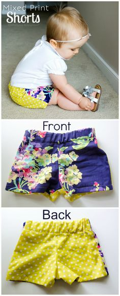 Adorable Mixed Print Shorts. So easy to do- just use a different fabric for the back pieces. No pattern needed! @CraftaholicAnon