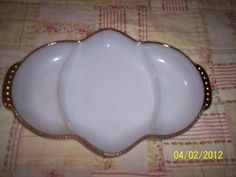 Vintage Fire King White Glass Relish Dish by ProPicksoftheOzarks, $10.00