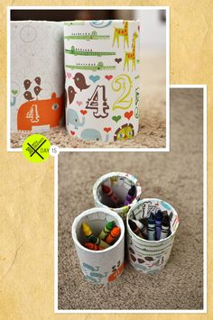 Paper-covered vegetable cans for storage.