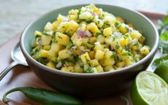Fresh Pineapple Salsa // Great tropical flavors with some added heat! #yellow #spring #recipe