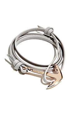Miansai Rose Gold Anchor Leather Bracelet available at #Nordstrom