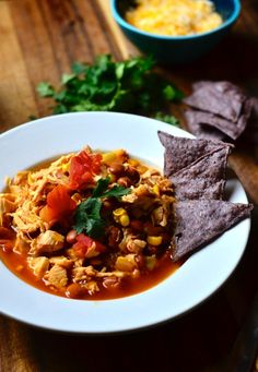 You can have this ready to eat in 30 minutes! Chicken Tortilla Soup with Fresh Cilantro | ReluctantEntertainer.com