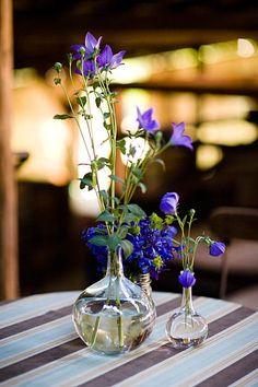 glass vases, blue flowers