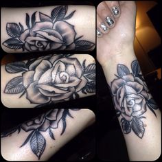 Black and grey rose I just had done on my wrist. I love it!