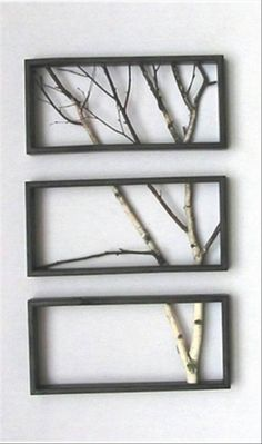DIY Wall Decor frames gray and branches glittered yellow