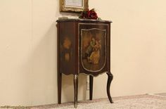 Hand Painted Antique 1895 Music Cabinet, Bronze Mounts from harpgallery on Ruby Lane