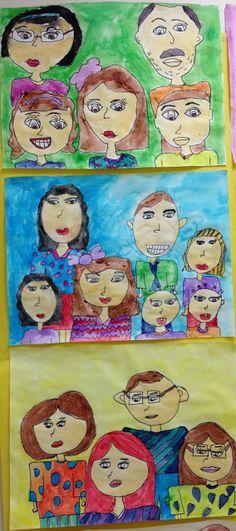 2nd grade family portraits! art idea, family portraits, famili portrait, elementari art, apex elementari, families, elementary art, 2nd grade, second grade