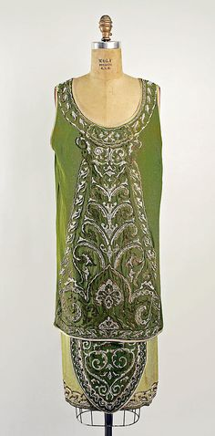 1925 Callot Soeurs evening dress, silk with embroidery, France, my favorite shade of green!
