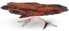 Tree of Life Coffee Table - Shown in Redwood Live Edge Slab - Item #CT03122 - Also Available in Black Walnut, Cherry, Maple & Exotic Slabs - Custom Sizes Available