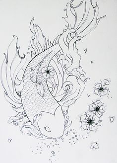 My canvas on pinterest bat tattoos bird tattoos and for Koi fish outline
