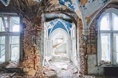 castle blue ribbing Haunting photos of abandoned castles