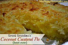 Great Grandma's Coconut Custard Pie {Best Ever}