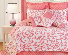 Serendipity Coral Quilt bedding, green wall, serendip coral, quilts, home kitchens, serendipity, coral quilt, coral bed, bedroom