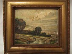 "OLD Original Glenn F Bastian SHIMMERING SEA Framed Oil Painting Indiana Artist Oil on Board Painting Entitled,""SHIMMERING SEA"" by Indiana Artsit Glenn F Bastian in Original Carved Wood & Gilted Frame.Painting meas. approx.5 3/4"" x 4 3/4""(sight)and frame meas. approx. 7 1/2"" X 8 3/4"".Bastian(1890-1966) SOLD! US $75.00"