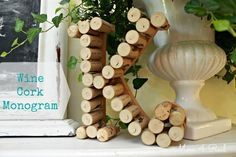 Monogram Made With Wine Corks! Such cute #diy #crafts on this blog!