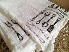 hand stamped dish towels
