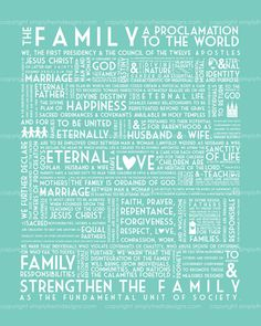 LDS Family Proclamation - 15 colors included - Instant Download