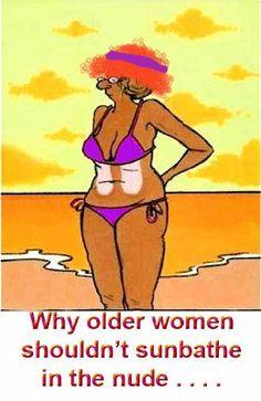 Why older women should not sunbathe!